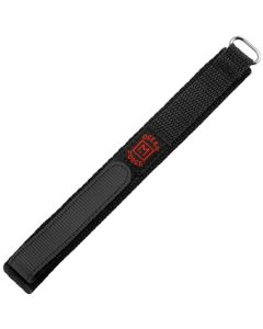 Marburger 955 Uhrenarmband Durchzugsband mit Klettverschluss schwarz/silber 18 mm